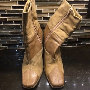 Basix by Robert Wayne tan faux suede leather boots